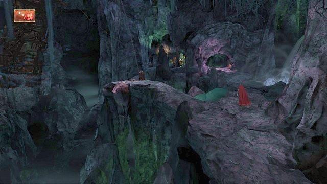 Będąc na górze, od razu kierujemy się do przodu i wybieramy ścieżkę prowadzącą w głąb pieczary - Podziemia - Magiczne lustro - Kings Quest - poradnik do gry