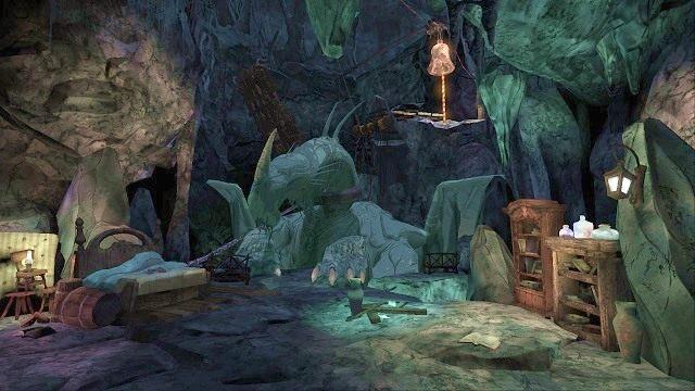 Jako że wywołany hałas zbudzi smoka, szybko wchodzimy w interakcję z pobliskim łóżkiem i się w nim chowamy - Podziemia - Magiczne lustro - Kings Quest - poradnik do gry
