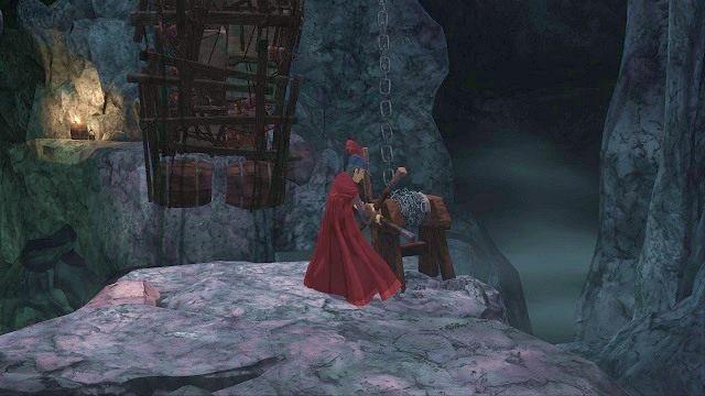 Na wspomnianym wzniesieniu podchodzimy do kolejnego kołowrotka i używamy przy nim przedmiotu, który aktualnie posiadamy w ekwipunku (naciskamy TAB, a następnie wybieramy item z listy) - Podziemia - Magiczne lustro - Kings Quest - poradnik do gry