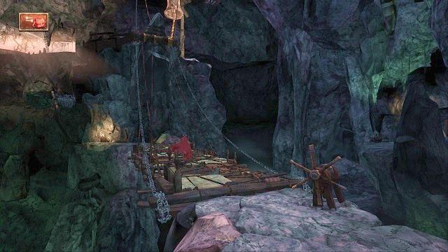 Jeżeli wszystko się powiedzie, to most opadnie, umożliwiając nam przejście na drugą stronę - Podziemia - Magiczne lustro - Kings Quest - poradnik do gry