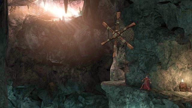 Na kolejnej półce skalnej znajdziemy zwłoki poszukiwacza przygód, którego żywot narrator chętnie skomentuje - Podziemia - Magiczne lustro - Kings Quest - poradnik do gry