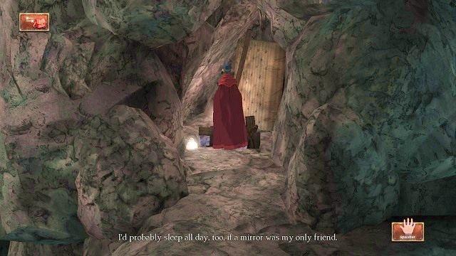 Po chwili dotrzemy do drabiny, dzięki której będziemy mogli zejść na niższy poziom pieczary - Podziemia - Magiczne lustro - Kings Quest - poradnik do gry