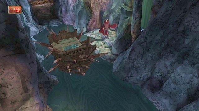 Na dole zauważymy krótki odcinek podziemnej rzeki, po którym pływa łódka naszpikowana kolcami - Legowisko smoka - Magiczne lustro - Kings Quest - poradnik do gry