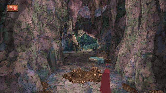 Na naszej dalszej drodze znowu stanie mnóstwo kości i czaszek, które tym razem musimy ostrożnie ominąć - Legowisko smoka - Magiczne lustro - Kings Quest - poradnik do gry