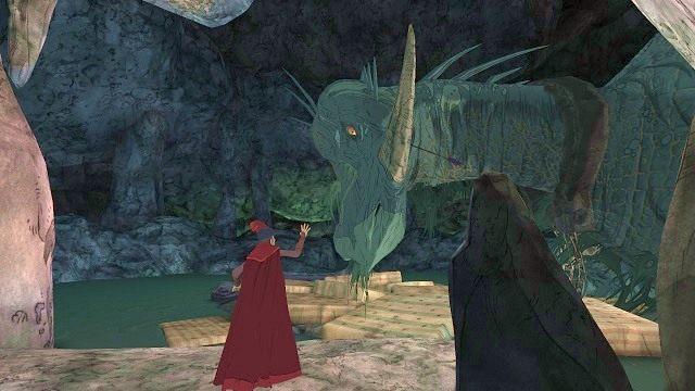 Jeżeli teraz podejdziemy do smoka - natychmiast zginiemy pożarci przez potwora - Legowisko smoka - Magiczne lustro - Kings Quest - poradnik do gry