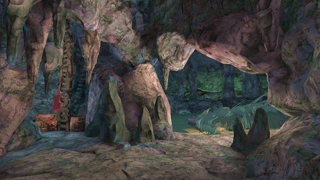 Zamiast pakować się prosto w paszczę smoka, lepiej skorzystać z drabiny, która stoi oparta o ścianę po lewej stronie pieczary - Legowisko smoka - Magiczne lustro - Kings Quest - poradnik do gry