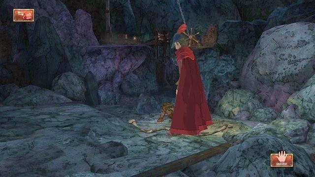 Przy stercie głazów znajdziemy kolejnego martwego podróżnika, który ma przy sobie łuk - Legowisko smoka - Magiczne lustro - Kings Quest - poradnik do gry