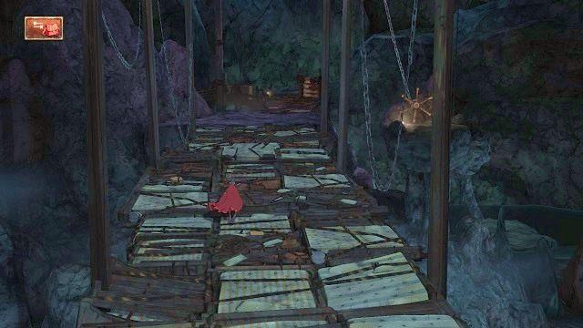 Gdy most opadnie, przechodzimy po nim, aby dotrzeć na drewnianą zabudowę - Legowisko smoka - Magiczne lustro - Kings Quest - poradnik do gry