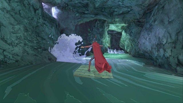 Niespodziewanie spadniemy do rwącej rzeki i zaczniemy płynąć w bardzo szybkim tempie na kawałku mostu - Brawurowa ucieczka - Magiczne lustro - Kings Quest - poradnik do gry
