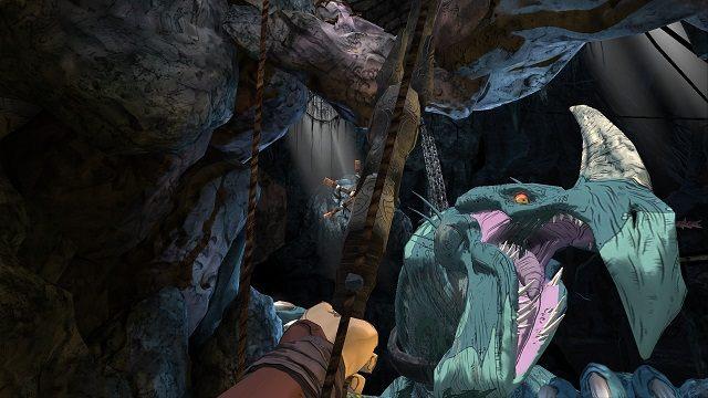 Gdy dotrzemy na skarpę, możemy bezpiecznie po niej przejść aż do drzwi, które pamiętamy z początku poziomu - Brawurowa ucieczka - Magiczne lustro - Kings Quest - poradnik do gry