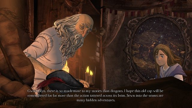 Po zakończeniu pierwszego etapu epizodu czas na ckliwą scenkę przerywnikową, w czasie której starszy już protagonista dokończy opowiadać swoją historię ukochanej wnuczce - Brawurowa ucieczka - Magiczne lustro - Kings Quest - poradnik do gry