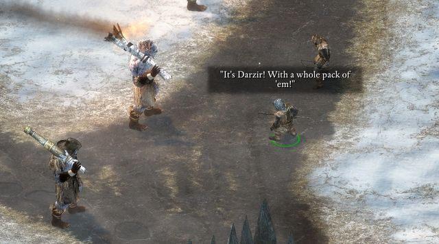 Poprzez mapę świata przejdź do nowej mapy (ikona znajduje się w górnym prawym rogu ekranu wyboru lokacji docelowej) i udaj się do wioski Krzepa (Stalwart Village)(M1) - Bateria Durgana (Durgans Batery) - zadanie główne - Rozpoczęcie przygody - Pillars of Eternity: The White March Part I - poradnik do gry