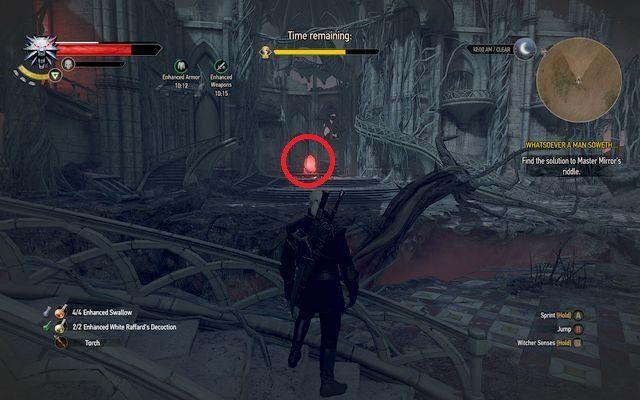 Będąc w ruinach od razu popatrz w lewo - zobaczysz tam jedno z luster oraz niefunkcjonującą fontannę - Zagadka Pana Lusterko - Wiedźmin 3: Serca z Kamienia - poradnik do gry