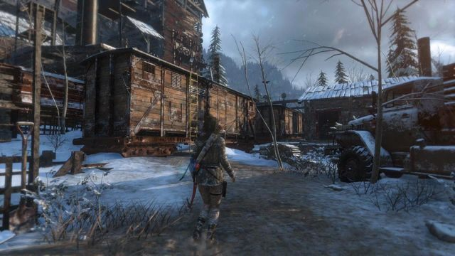 Kiedy znajdziesz się na terenie huty wespnij się po żółtej drabince na pierwszy z wagonów - Dotrzyj do wejścia do kopalni | Znów sama - Rise of the Tomb Raider - poradnik do gry