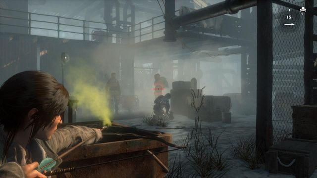 Dojdziesz do pomieszczenia, w którym kilku stojących obok siebie przeciwników próbuje dostać się do sejfu - Dołącz do Jacoba   Znów sama - Rise of the Tomb Raider - poradnik do gry