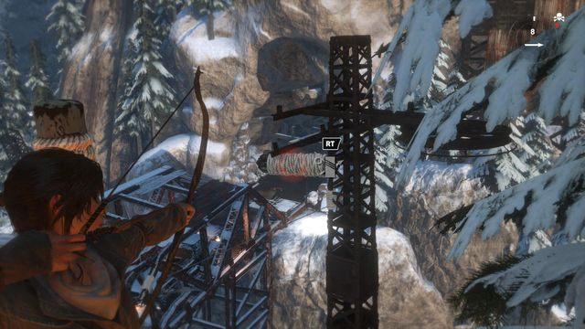 Wystrzel strzałę w kierunku widocznego na ekranie zwoju i zjedź po linach w dół - Dołącz do Jacoba | Znów sama - Rise of the Tomb Raider - poradnik do gry