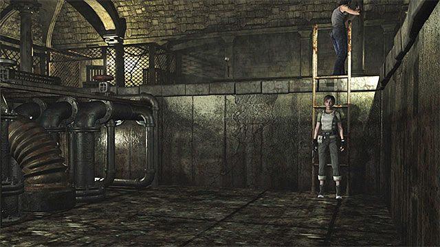 Rebecca musi zejść po drabinie do niewielkiego dołu z klatką - Początek eksploracji | Ośrodek szkoleniowy Umbrella - Resident Evil Zero HD - poradnik do gry