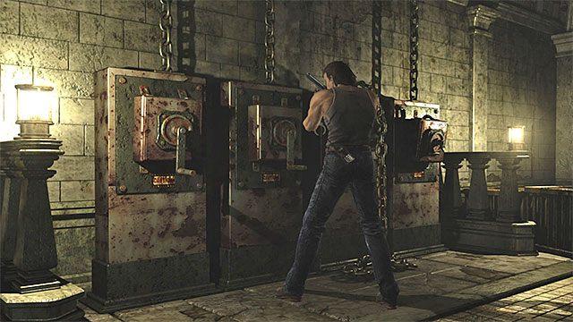 Po tym jak Rebecca znajdzie się przy klatce przełącz się na Billyego i zbadaj okolice południowych drzwi prowadzących do obszaru z fontanną i krukami - Początek eksploracji | Ośrodek szkoleniowy Umbrella - Resident Evil Zero HD - poradnik do gry