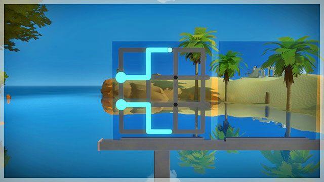 Dotrzesz do pierwszego zestawu podwójnych zagadek - Opis przejścia - Skała - The Witness - poradnik do gry