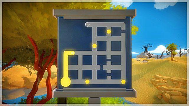 Po prawej zobaczysz kolejne trzy zagadki o rosnącym stopniu trudności - Opis przejścia - Skała - The Witness - poradnik do gry