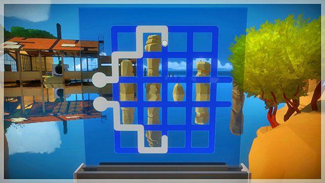 W lokacji znajduje się również zestaw zagadek opcjonalnych - Opis przejścia - Skała - The Witness - poradnik do gry