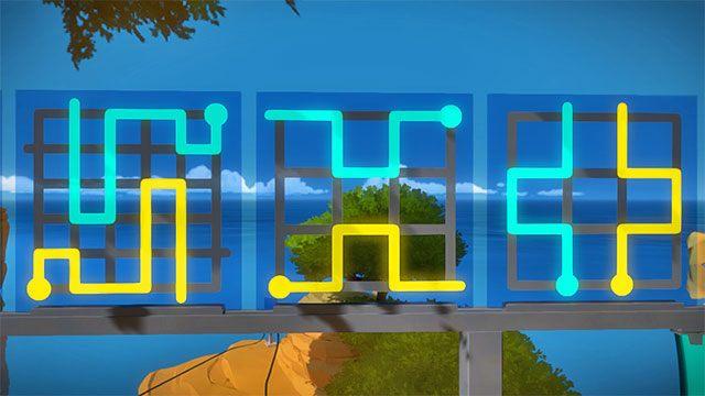 Drugi zestaw zagadek, trzy pierwsze - Rozwiązania zagadek - Skała - The Witness - poradnik do gry