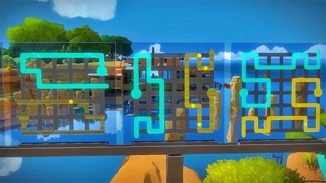 Trzeci zestaw zagadek, trzy pierwsze - Rozwiązania zagadek - Skała - The Witness - poradnik do gry
