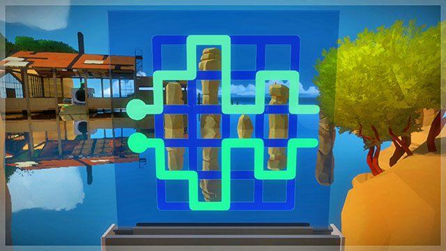 Łamigłówki z perspektywy, pierwszy panel - Rozwiązania zagadek - Skała - The Witness - poradnik do gry