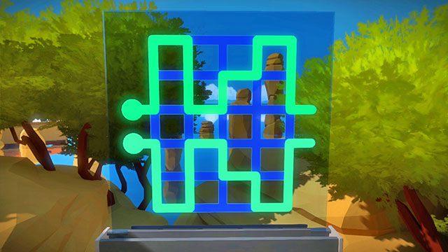 Łamigłówki z perspektywy, drugi panel - Rozwiązania zagadek - Skała - The Witness - poradnik do gry