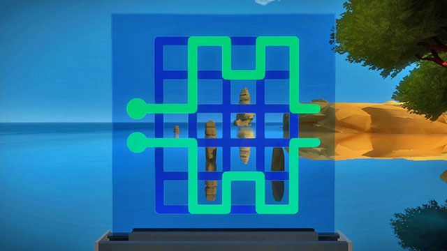 Łamigłówki z perspektywy, czwarty panel - Rozwiązania zagadek - Skała - The Witness - poradnik do gry