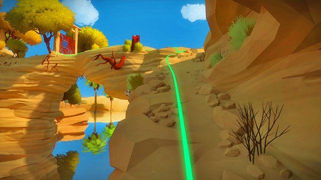 Z warsztatu skręć w lewo i idź za zielonym kablem - Skała - Solucja The Witness - The Witness - poradnik do gry