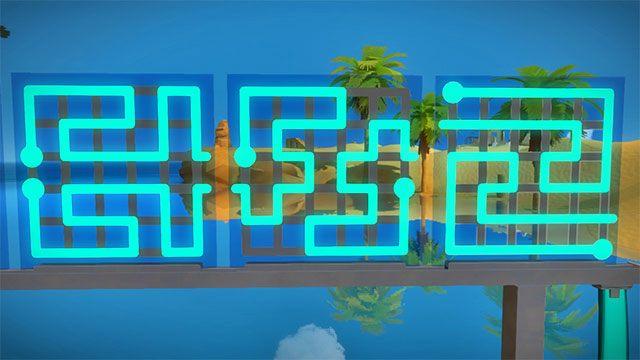 Pierwszy zestaw zagadek, trzy kolejne - Rozwiązania zagadek | Skała - The Witness - poradnik do gry