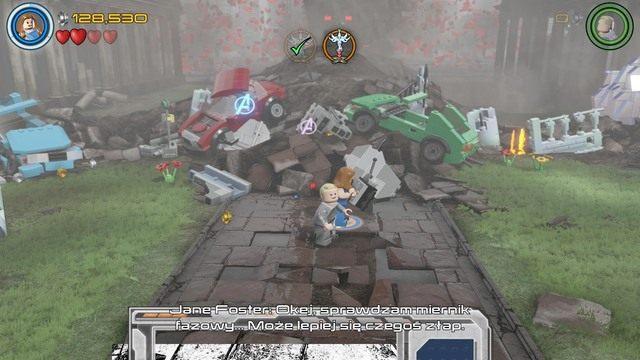 Po aktywowaniu dźwigni stworzonego nadajnika, podejdź do środka i kontrolując postać Jane, zeskanuj teren by przywołać Thora - Hen, w Aetherze - Opis przejścia - LEGO Marvels Avengers - poradnik do gry