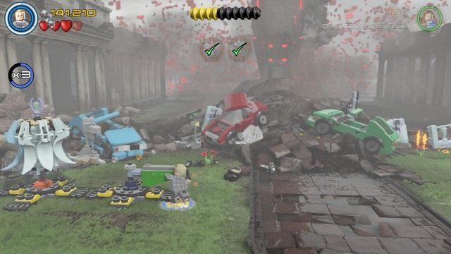 Będąc na miejscu zniszcz wszystkie widoczne na obrazku obiekty po czym stwórz z nich drugi nadajnik oraz ramię - Hen, w Aetherze - Opis przejścia - LEGO Marvels Avengers - poradnik do gry