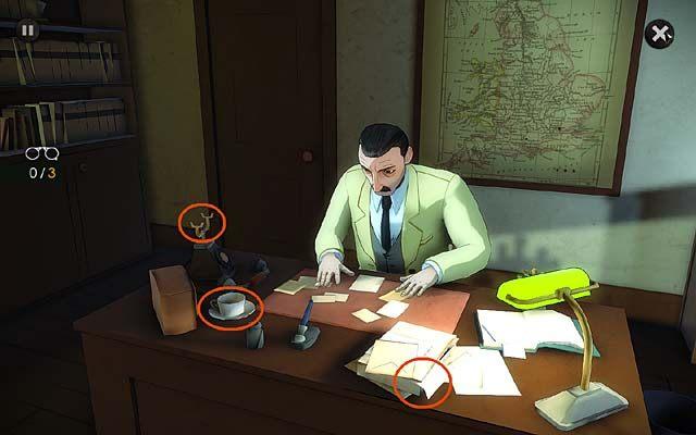 Wreszcie zainteresuj się siedzącym za biurkiem Jappem (trzy spostrzeżenia), a konkretnie takimi oznakami jego zapracowania jak leżące na blacie stosy dokumentów, filiżanka zimnej herbaty i telefon ze zdjętą słuchawką (w trakcie wynikłej następnie rozmowy zdobędziesz 3 punkty ego) - Udaj się do Scotland Yardu i poinformuj Jappa o liście B - Rozdział pierwszy - Andover - Agatha Christie: The ABC Murders - poradnik do gry
