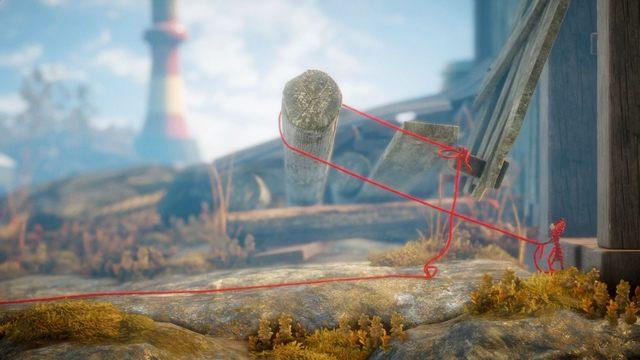 W przedostatniej zagadce, musisz zawiązać supeł i przeskoczyć nad belką po lewej - Poziom 2 - The Sea - Opis przejścia - Unravel - poradnik do gry