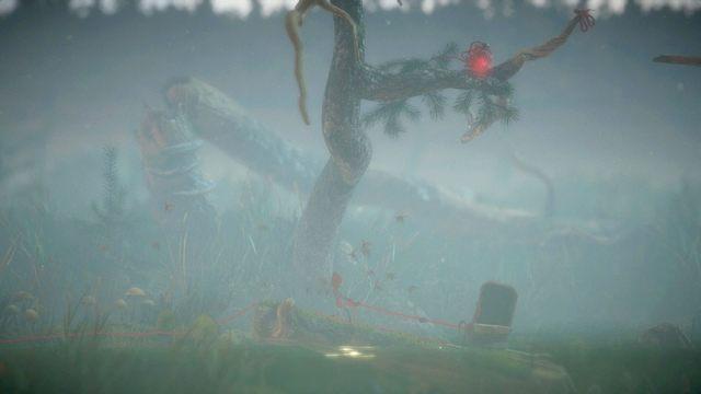 Aby poradzić sobie z kolejną zagadką kłębka na drzewie, przejdź najpierw na prawą krawędź obok drzewa - Poziom 3 - Berry Mire - Opis przejścia - Unravel - poradnik do gry