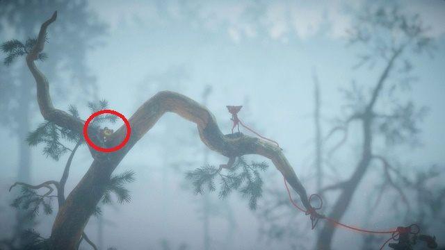 Możesz jeszcze zebrać jeden guzik wybijając się z metalowego kraniku i wyskakując na drzewo po lewej - Poziom 3 - Berry Mire - Opis przejścia - Unravel - poradnik do gry