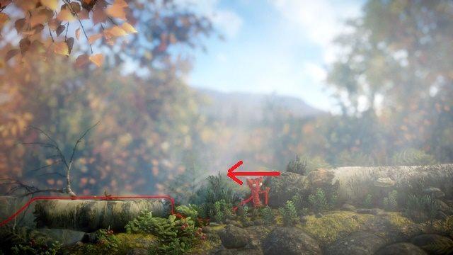 W początkowym etapie nie czekają cię żadne trudności, może jedynie wyciągnięcie kamienia spod gałęzi, by ją opuścić - Poziom 4 - Mountain Trek - Opis przejścia - Unravel - poradnik do gry