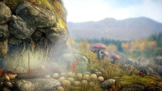 Opuszczając się na prawą stronę pagórka odskocz nieco od ściany - w przeciwnym razie dopadnie cię gryzoń - Poziom 4 - Mountain Trek - Opis przejścia - Unravel - poradnik do gry
