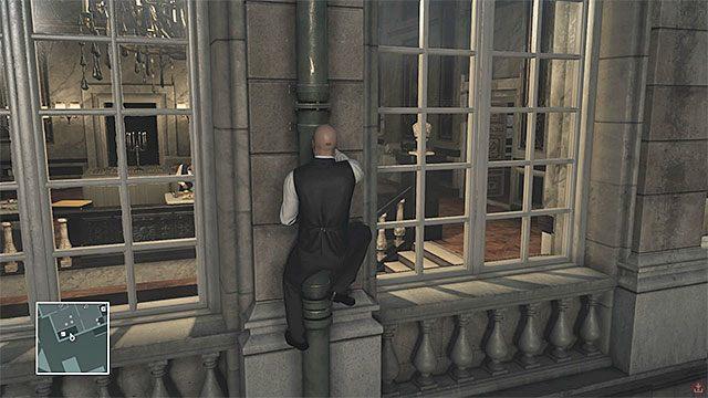 Dzięki wspinaczce po rynnach łatwo jest dotrzeć na poziomy 2 i 3 pałacu - Infiltracja pałacu | Paryż - The Showstopper - Hitman - poradnik do gry