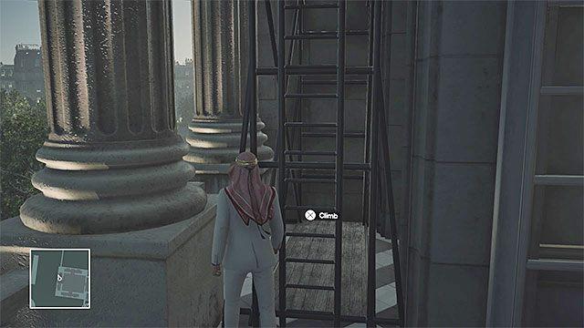 Użycie drabiny to jeden ze sposobów na dotarcie na poziom 3 bez przeszukania - Infiltracja pałacu | Paryż - The Showstopper - Hitman - poradnik do gry