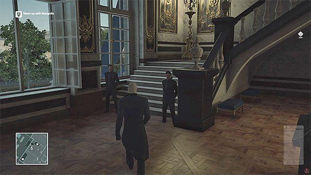 Kruger nie zostanie przeszukany przez ochroniarzy pilnujących schodów na trzecie piętro - Zamordowanie Dalii Margolis | Paryż - The Showstopper - Hitman - poradnik do gry