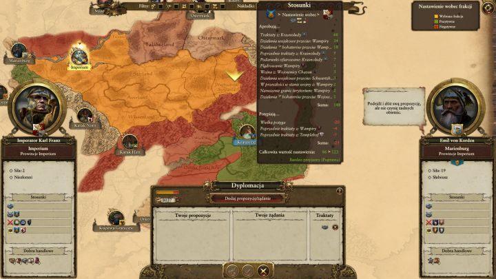 Okno dyplomacji wywołać można przy pomocy przycisku znajdującego się w prawym dolnym rogu ekranu, bądź wciskając po prostu klawisz 5 - Dyplomacja i handel - Porady na dobry początek - Total War: Warhammer - poradnik do gry