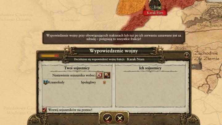Największa korzyścią z przyjaznych stosunków (prócz możliwości handlu rzecz jasna) jest swobodne poruszanie się po terenie innej frakcji, a także możliwość wezwania pomocy w przypadku wojny - Dyplomacja i handel - Porady na dobry początek - Total War: Warhammer - poradnik do gry