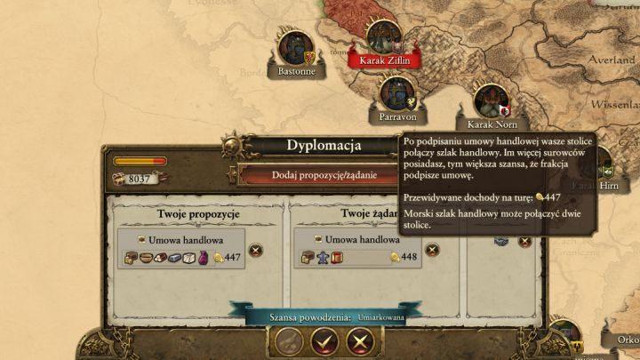 Handlować z innymi frakcjami można tylko i wyłącznie wtedy, gdy w którejś z twoich osad wydobywane jest jakieś dobro (żelazo, kamień, drewno i tak dalej), a frakcja z którą chcesz handlować nie posiada tego surowca - Dyplomacja i handel - Porady na dobry początek - Total War: Warhammer - poradnik do gry