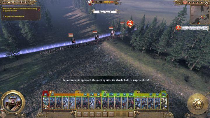 Po krótkiej chwili z południa przybędą posiłki wroga. - Kampania - opis przejścia i porady   Imperium - Total War: Warhammer - poradnik do gry