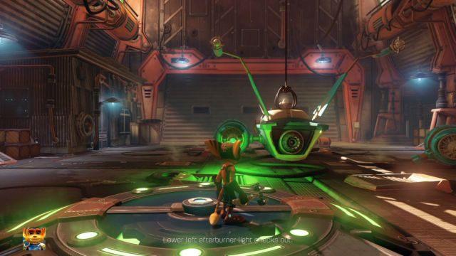 Wejdź w interakcję ze śrubą wskazaną przez ikonę by obniżyć statek - Planeta Veldin - Opis przejścia - Ratchet & Clank - poradnik do gry