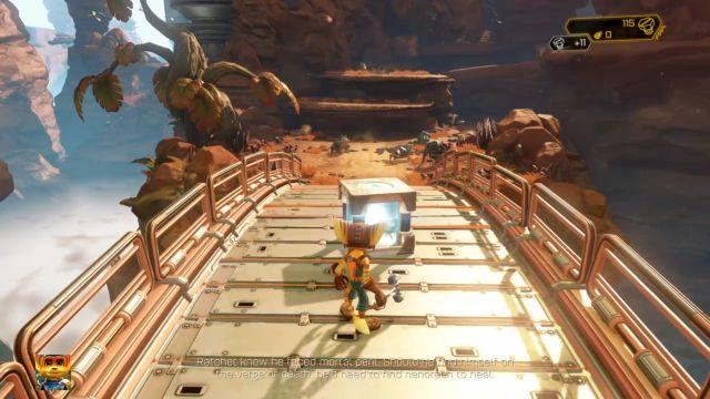 Wkrótce dojdziesz do rozwidlenia - na lewo droga prowadzić będzie przez most, na prawo przez przepaść - Planeta Veldin - Opis przejścia - Ratchet & Clank - poradnik do gry