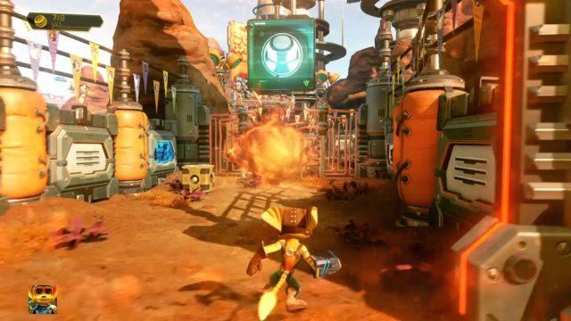 Na kolejnej arenie musisz aktywować kolejny przycisk i po prostu zniszczyć pudełka, które się pojawią - Planeta Veldin - Opis przejścia - Ratchet & Clank - poradnik do gry